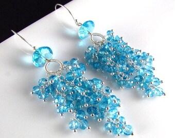 25 % OFF Sky Blue Quartz Sterling Silver Cluster Earrings, Waterfall Earrings