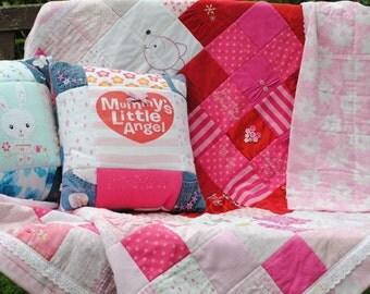 Personalised Custom Keepsake Patchwork Memory Quilt Cushion Bed Runner Throw
