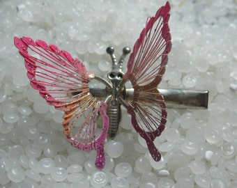 Vintage barrette,  clip sweet butterfly, pink , fluttery spring wire