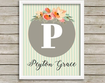 Mint peach gray nursery wall art baby girl nursery decor personalized baby custom name print personalized nursery art gift for baby shower