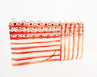 Romantic Pouch, Fabric Zipper Pouch, Striped Pouch, Fabric Pouch, Japanese Import Pouch, Pencil Case, Gift for Her, Red Stripes and Shapes