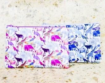 Fabric Pouch, Change Purse, Coin Purse, Zipper Pouch, Animal Fabric Pouch, Pouch, Fabric Case, Zoo Animals Pouch, Liberty of London Pouch