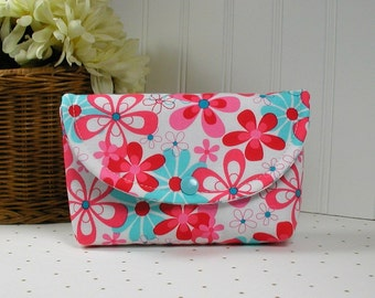 Snap Pouch, Large Snap Pouch, Cosmetic Pouch, Accessory Pouch... Nearby Floral in Red and Aqua