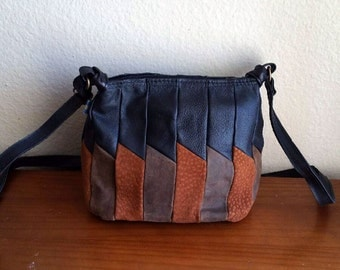 Small Black and Tan Leather Boho Shoulder Bag