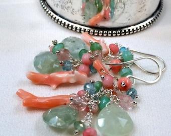 HALLOWEEN SALE Aquamarine Earrings Coral Apatite Chrysoprase Multicolor Gem Wire Wrap Cluster Earrings Colorful Cluster Earring Sterling Sil