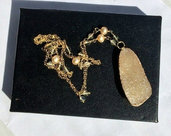 50% SALE Beige Druzy Necklace  Pearl Citrine Wire Wrap Gold Fill Chain Boho Dainty Statement Necklace Crystal Pearl Sand Beige Druzy Beach N