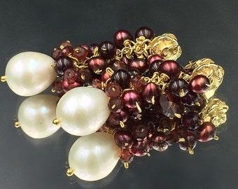 PRESIDENTS DAY SALE Garnet Red Pearl Earrings Ivory Freshwater Pearl Red Gem Cluster Wire Wrap Earrings, Pearl and Red Earrings Gold Post Ja