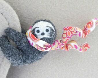Sloth plush Car Visor hugger  -  stuffed animal  with bendable legs and scarf - felt rain forest animal