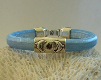 Baby Blue Licorice Leather Cuff with Silver Dolphin Slide by Carol Wilson of Je t'adorn