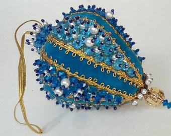Vintage Beaded hand made Christmas Ornament Blue Teardrop Velvet Beads Gold holiday Xmas