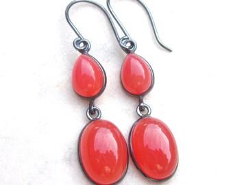Orange chalcedony earrings, stone dangle earrings, oxidized sterling silver, boho gemstone earrings, orange earrings, long gemstone earrings