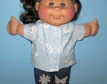 Cabbage Patch Kids,  Doll Clothes, 14 15 inch Doll Clothes, Bunny Top and Blue Jeans,  Handmade Doll Clothes