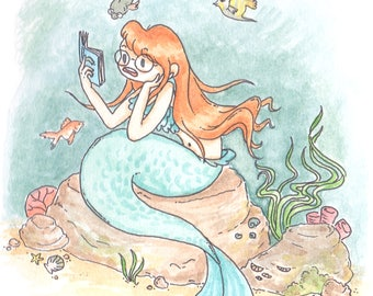 Mermaid Watercolour Illustration Print