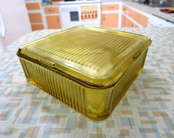 Amber Glass Refrigerator Dish with Cover - BEST PRICE - 8.5 in. Square