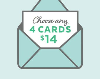 assorted greeting card set of 4, assorted note cards, card gift set, stationery gift set