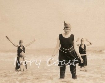 What are friends for Swimming Vintage Photo. Digital Download. Funny, silly, beach, pals, sepia, retro, seaside, water, swim, cute, #14/PAM