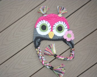 Owl hat  crocheted made to order in any color or size  newborn to adult