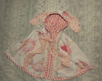 barkcloth bunny ear cape with vintage ballet dancers