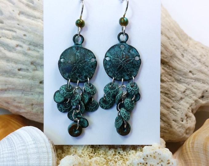 Green Copper Patina Sand Dollar Chandelier Earrings on Sterling Silver Ear Wire