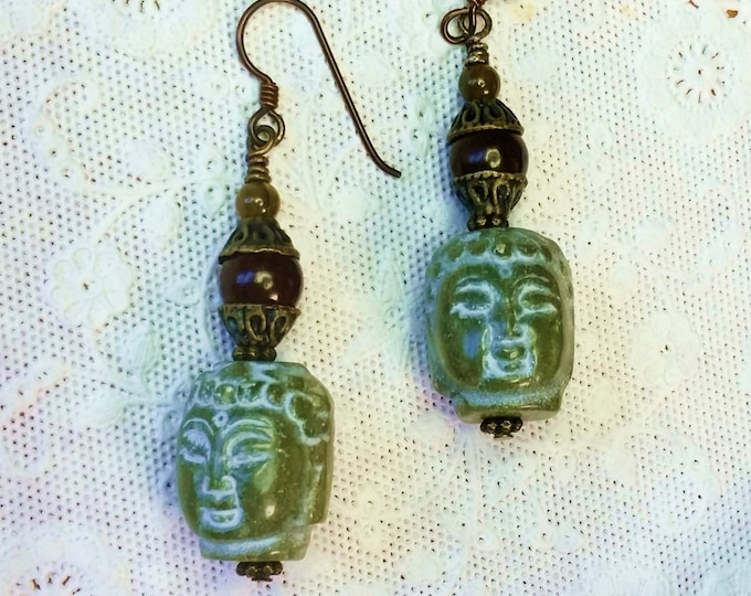 Carved Serpentine Stone Buddha Earrings on Antique Brass Niobium Hypoallergenic Ear Wire