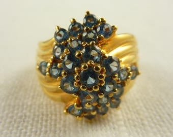 Size 10 Vintage Gold Plated Sterling and Blue Topaz Ring
