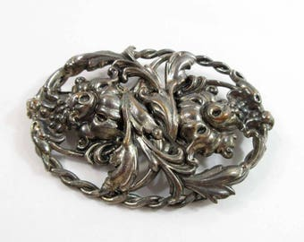 Foo Dog Leaf Brooch Pin Sterling Silver Repousse Floral Oval 9111
