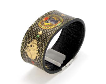 Leather Bracelet also, with contactless payment chip - Sacred Scarab