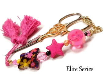 Scissor Fob Pink Butterfly Star Scissor Minder Beaded Scissor Keeper Elite Series Needlepoint Quilting Sewing Cross Stitch