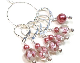 Locking Removable Stitch Markers Crochet Knitting Supplies Row Markers Pink Flower Mauve Pearl Snagless Gift for Knitter Snag Free