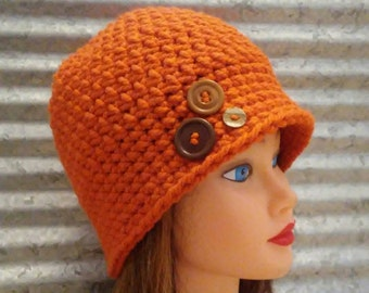 3 Button Hat in Pumpkin, Chunky Crocheted Cap