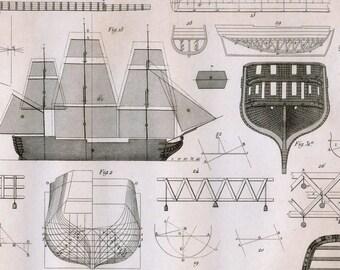 Antique Print on Shipbuilding - Plate 7 - 1852 Engraving