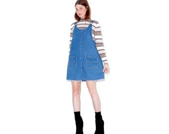 90s Denim Overall Dress xs small / adorable denim overalls jumper dress jean dress denim dress 90s grunge ripped jeans distressed jeans