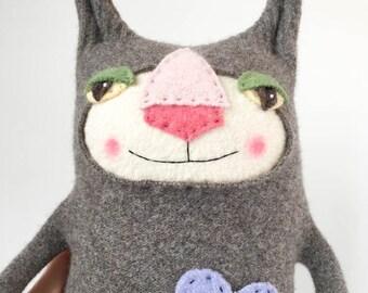 Grey Wool Sweater Kitty