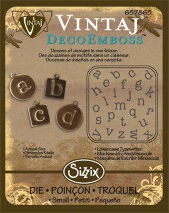 """Vintaj DecoEmboss Die Lower Case Typewriter 2 3/8x2 5/8"""""""