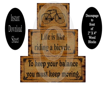 Printable 2 X 4 Block Sheet , Bicycle , Decoupage , DIY , Chunky , Stackable , Prim , Instant Download , Vintage , Grungy , Life , Balance