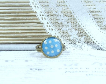 Blue Polka Dot Ring Retro Style Ring Cream And Blue Ring Polka Dot Jewelry Adjustable Ring