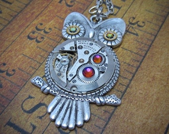 Steampunk Pendant - Who's Time - Steampunk Necklace- Owl pendant