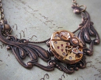 Steampunk Pendant - Time Lock - Steampunk Necklace- Repurposed art