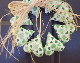 Shamrock Heart Wreath - Handmade - St Patrick's Day