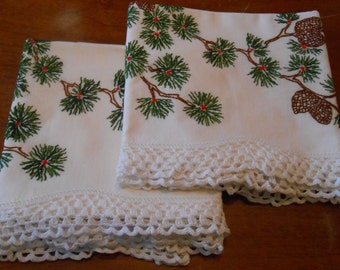 Set of vintage crocheted pinecone pillowcases