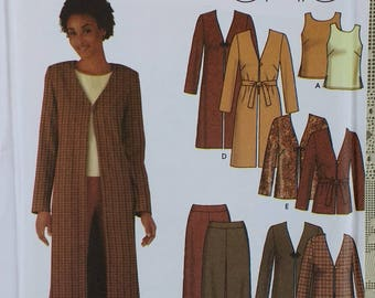 Misses Duster Jacket Top and Pants Pattern Simplicity 5842 Misses Plus Size 16 18 20 22 - Duster Jacket in two lengths.