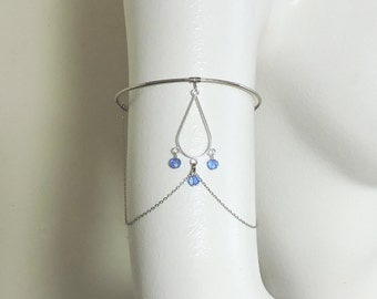 Upper Arm Jewelry - Silver Armlet - Chained Silver Armband with Choice of Birthstone Crystal or Pearl - Hammered Silver Upper Arm Bracelet
