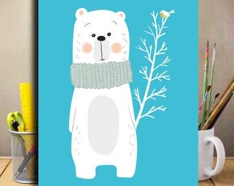 Nursery wall art, Baby girl gift birthday baby boy gift push present nursety decor  birthday present baby 4th birthday Bear Illustration