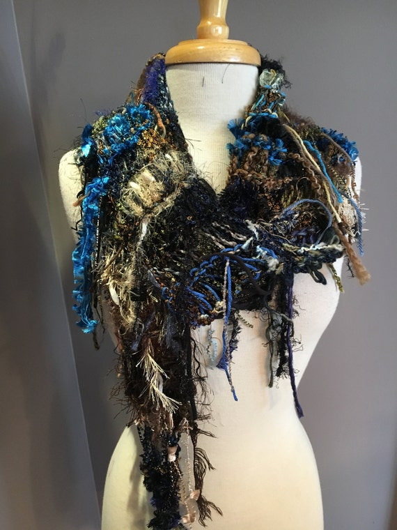 Knit Fringe art scarf, Dumpster Diva Series, 'Dark Forest', funky fringed knit scarf, black blue green brown, tapered triangle scarf, ribbon