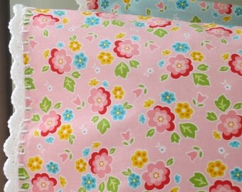 Bright Pink Floral Pillowcase with Crochet Trim