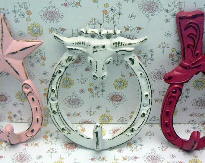 Longhorn Bull Star Boot Horseshoe Cast Iron Set 3 Wall Hooks Shabby Chic Pink White Berry Home Decor