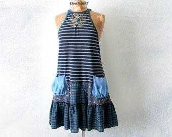 Blue Upcycled Dress Bohemian Women's High Neck Tank Knee Short Dress Boho Sundress Eco Friendly Hipster Clothing Summer Wear Large 'JASMINE'