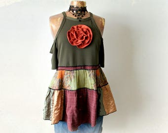 Gypsy Vagabond Patchwork Blouse Cold Shoulder Top Shabby Chic Clothing Fit Flare Tunic Art To Wear Upcycled Top Country Clothes M 'CELESTE'
