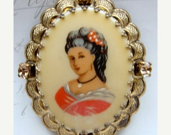 ONSALE Antique Victorian Rhinestone Portrait brooch Western Germany gold frame Brooch