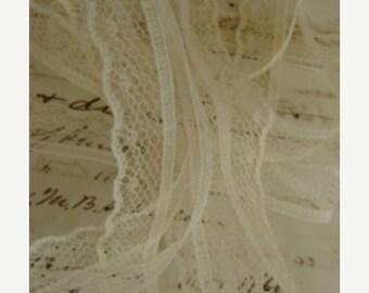 ONSALE Vintage French Ivory Doll Lace Yardage